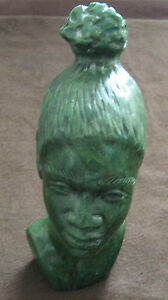 Beautiful Signed African Art Verdite Bust