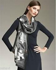 ~$575 Giorgio Armani Collezioni Floral Stole Long Scarf Black Gray Silk Grey