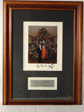 PRES. GEORGE W. BUSH AND FIRST LADY, SIGNED XMAS CARD, FRAMED