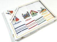 Vintage Embroidered Kitchen Hand Towels Set Of 4