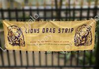 Lions Drag Strip Banner Hot Rod Racing Vintage Style Flag NHRA Sign Poster 2x6ft