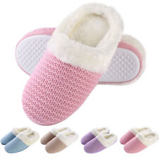 Women's Men Cable Knit Clog Slippers Winter Warm Slip-on Memory Foam House Shoes