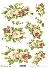 Rice Paper for Decoupage Scrapbooking, Beautiful Pink White Roses A4 ITD R423