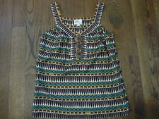 MILLY Size 2 Brown Geometric Sleeveless Blouse Side Buttons Excellent!