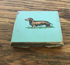 Small Antique Stratton Compact. Enamel Sausage Dog Dashound. Brass