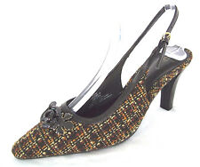 Lifestride Shoes Sz 7.5 Womens Brown Tweed Check Fabric Slingback Pumps NWOB New