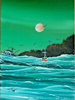 ACEO ORIGINAL Fishing Boats Rough Sea Ocean Seagulls Miniature Painting HYMES
