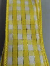 "1.5"" Wired Ribbon - Yellow and White Check with metallic thread"