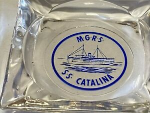Vintage Glass SS CATALINA Ship Cigarette  Ashtray ~ tobacco collectible MGRS