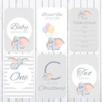 Baby Milestone Cards, 4x6 Photo Prop, 37 Cards, Dumbo, Elephant