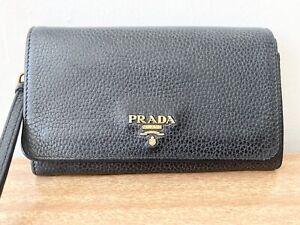 Authentic Prada Navy Blue Leather Wallet Wristlet