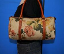 VTG NORDSTROM Small Floral Canvas Leather Tote Carryall Purse Shoulder Bag ITALY