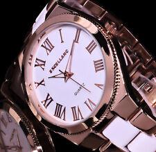 Excellanc Damen Uhr Armbanduhr Weiß Rose Gold Farben Metall 12