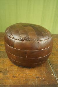 60er Vintage Stool Seat Cushion Pouf Braun Leather Ottomane Footrest