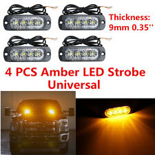 4x Amber Flash Light Off-road 4LED Warning Strobe Emergency Beacon for Car Truck