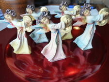 Set 5 Antique Composition Paper Mache Angels Cymbals Christmas Italy