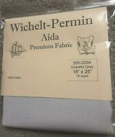 "Wichelt Imports PREMIUM Cross Stitch Fabric AIDA 16 ct 18"" X 25"" GRACEFUL GREY"