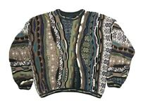 DOMENIC SACCO 'Coogi' Style Multi-Color Textured Sweater Mens Large Cosby Biggie