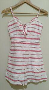 Kookai White Red Striped Spaghetti Strap Women's Playsuit Romper Size 34 AUS 6