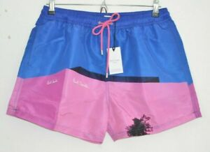 PAUL SMITH LA Shop PINK wall Los Angeles blue swimming shorts trunks LARGE