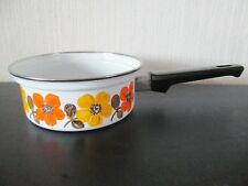 Austria Email vintage cookware pan 1 quart yellow and orange flowers