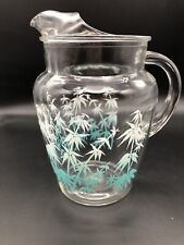 New listing Vintage Water Pitcher Beverage Turquoise White Clear Mid-Century Bamboo Leaves