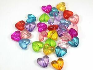 50 Mixed Color Transparent Acrylic Smooth Heart Beads Charms 17mm Jewelry Making