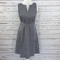 Ann Taylor Loft  Women's A-Line Dress Sleeveless Black & White Stripes Size 8