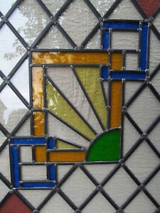 NEW professionally crafted STAINED GLASS WINDOW PANEL Art Deco design 486x598mm