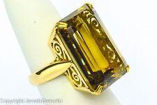 18K Yellow Gold Rectangle Brown Smoky Topaz Cocktail Ring Sz. 6.5 Vintage BIG