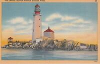 Boston Lighthouse    c1940's Vintage Postcard
