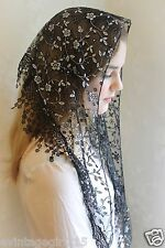 NEW Classic Mantilla Black Embroidered Chapel Veil Triangle Free Ship