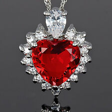 Xmas Lady Fashion Jewelry **Heart Cut Red Ruby Pendant Necklace  Jewellery Chain
