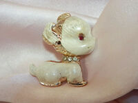 Super Cute Vintage 1940s Rhinestone Enamel Puppy Dog Brooch  794JE4