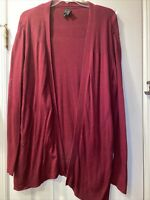 Worthington Womens Sweater Jacket Cardigan Red Long Sleeves Open Front  XL