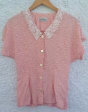 96d5eb6a17d3a House Of Fraser Exclusive Vintage Pink Floral Spot Blouse Top Crochet  Collar 10
