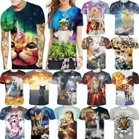 Galaxy Cat Explosion Kitty 3D Print T-Shirt Women Men Casual Crew-Neck Tees Tops