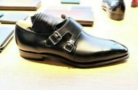 Men's handmade genuine leather double monk strap formal dress shoes.