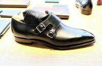 Men's handmade double monk strap dress shoes custom leather shoes for men
