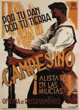 Peasant! Enlist in the Militia, 1936, Spanish Civil War Propaganda Poster
