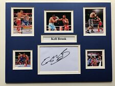 """Boxing Kell Brook Signed 16"""" X 12"""" Double Mounted Display"""