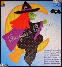 Janlynn HALLOWEEN WITCH Plastic Canvas Wall Hanging Kit -Broom,Moon,Bat- 21-139