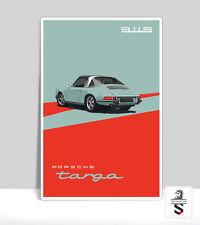 "Porsche 911s Targa Aquamarine. Art Print on Aluminum Porsche Poster 18""x 24"""