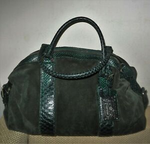 $1950 Genuine RALPH LAUREN Dark Green Suede & Python Leather Hand Bag
