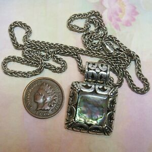 14KT White Gold on Sterling Silver Filigree Abalone Pendant Woven Braid Necklace
