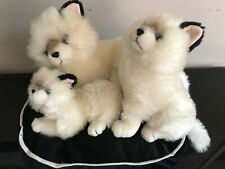 Fao Schwarz Persian Cat Family of 3 White Plush Large Velvet Pillow 16 x 14 inch
