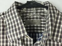 Canali 1934 Mens M Brown Blue Gingham Check Plaid 100% Cotton Button Up Shirt