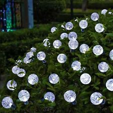Solar Garden Lights String Fairy 30 White LED Crystal Globe Ball Weatherproof