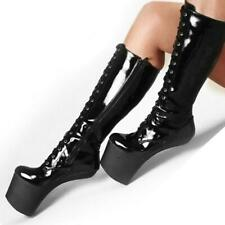 Women's High Platform Lace Up Heelless Knee High Boot Club Patent Leather Shoe L