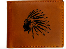 Native American Indian Chief Genuine Leather Wallet Men Gift Brown